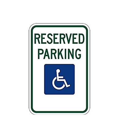 Eastern Metal Handicapped Reserved Parking Rigid Sign with No Arrow EASHNDCPx063-EGW-R7-8-