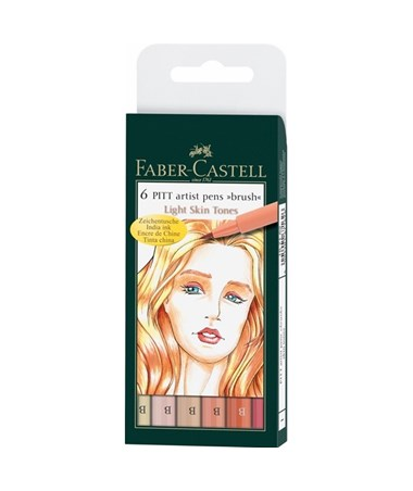 Faber-Castell PITT Artist Brush Pen Skin Tone 6-Color Wallet Set FC167162