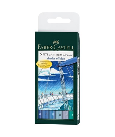 Faber-Castell PITT Artist Brush Pen Shades of Blue 6-Color Wallet Set FC167164