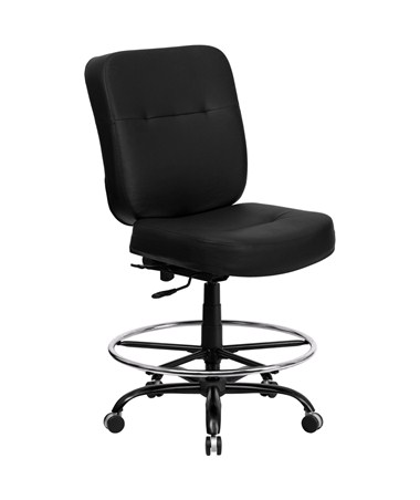Flash Furniture Hercules Leather Drafting Chair  WL-735SYG-BK-LEA-D-GG