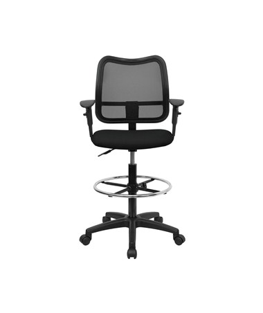Flash Furniture Mesh Drafting Chair With Arms WL A277 BK AD GG