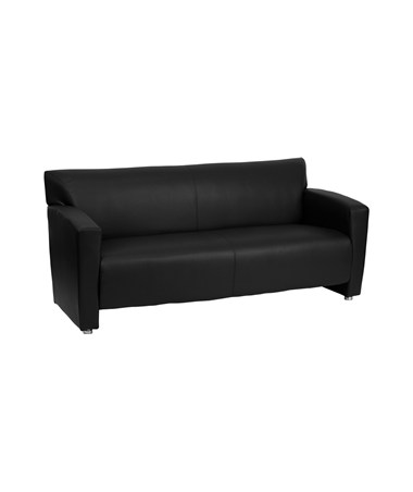 HERCULES Majesty Series Black Leather Sofa [222-3-BK-GG] FLF222-3-BK-GG