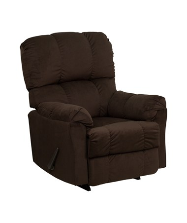 Contemporary Top Hat Chocolate Microfiber Rocker Recliner [AM-9320-4171-GG] FLFAM-9320-4171-GG