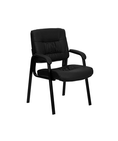 Black Leather Guest / Reception Chair with Black Frame Finish [BT-1404-GG] FLFBT-1404-GG