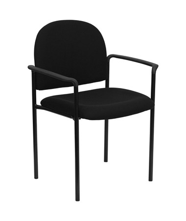 Black Fabric Comfortable Stackable Steel Side Chair with Arms [BT-516-1-BK-GG] FLFBT-516-1-BK-GG