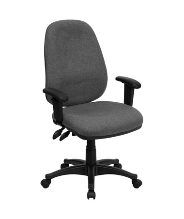 High Back Gray Fabric Ergonomic Computer Chair with Height Adjustable Arms [BT-661-GR-GG] FLFBT-661-GR-GG