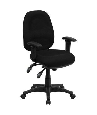 Mid-Back Multi-Functional Black Fabric Swivel Computer Chair [BT-662-BK-GG] FLFBT-662-BK-GG
