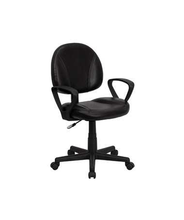 Mid-Back Black Leather Ergonomic Task Chair with Arms [BT-688-BK-A-GG] FLFBT-688-BK-A-GG