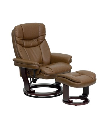 Contemporary Palimino Leather Recliner and Ottoman with Swiveling Mahogany Wood Base [BT-7821-PALIMINO-GG] FLFBT-7821-PALIMINO-GG