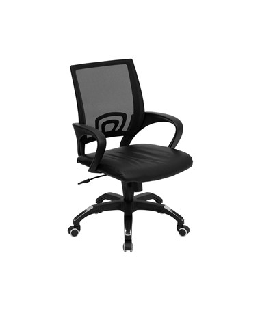 Mid-Back Black Mesh Computer Chair with Black Leather Seat [CP-B176A01-BLACK-GG] FLFCP-B176A01-BLACK-GG
