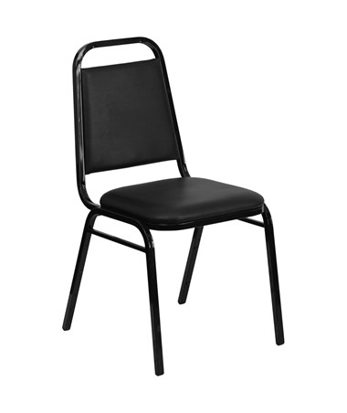 HERCULES Series Upholstered Stack Chair with Trapezoidal Back and a 1.5'' Padded Foam Seat - Black Vinyl with Black Frame [FD-BHF-2-GG] FLFFD-BHF-2-GG