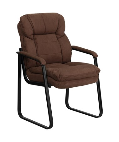 Brown Microfiber Executive Side Chair with Sled Base [GO-1156-BN-GG] FLFGO-1156-BN-GG