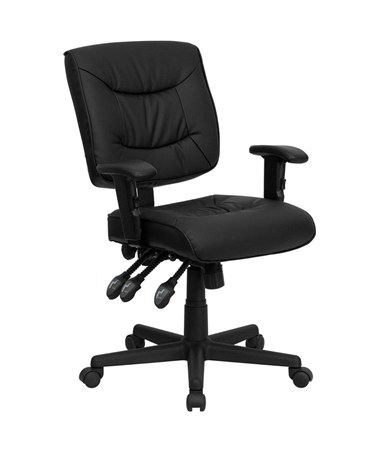 Mid-Back Black Leather Multi-Functional Task Chair with Height Adjustable Arms [GO-1574-BK-A-GG] FLFGO-1574-BK-A-GG