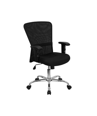 Mid-Back Black Mesh Contemporary Computer Chair with Adjustable Arms and Chrome Base [GO-5307B-GG] FLFGO-5307B-GG