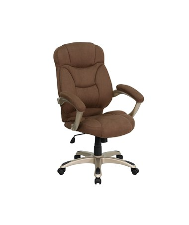 High Back Brown Microfiber Upholstered Contemporary Office Chair [GO-725-BN-GG] FLFGO-725-BN-GG
