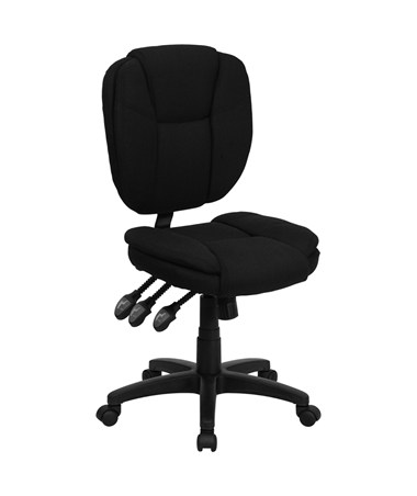 Mid-Back Black Fabric Multi-Functional Ergonomic Task Chair [GO-930F-BK-GG] FLFGO-930F-BK-GG