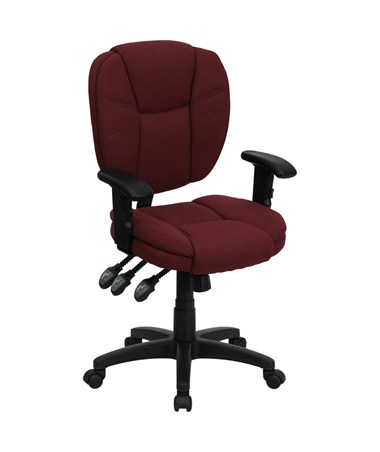 Mid-Back Burgundy Fabric Multi-Functional Ergonomic Task Chair with Arms [GO-930F-BY-ARMS-GG] FLFGO-930F-BY-ARMS-GG