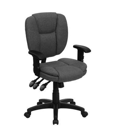 Mid-Back Gray Fabric Multi-Functional Ergonomic Task Chair with Arms [GO-930F-GY-ARMS-GG] FLFGO-930F-GY-ARMS-GG