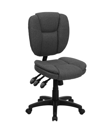 Mid-Back Gray Fabric Multi-Functional Ergonomic Task Chair [GO-930F-GY-GG] FLFGO-930F-GY-GG