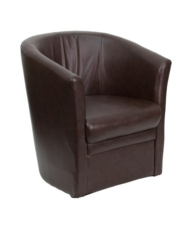 Brown Leather Barrel-Shaped Guest Chair [GO-S-01A-BN-FULL-GG] FLFGO-S-01A-BN-FULL-GG