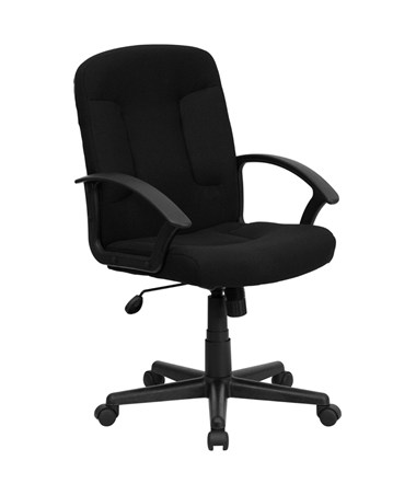 Mid-Back Black Fabric Task and Computer Chair with Nylon Arms [GO-ST-6-BK-GG] FLFGO-ST-6-BK-GG