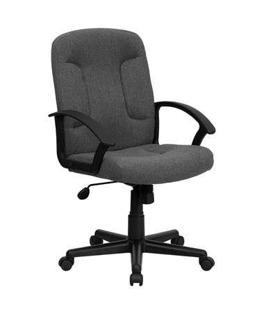 Mid-Back Gray Fabric Task and Computer Chair with Nylon Arms [GO-ST-6-GY-GG] FLFGO-ST-6-GY-GG