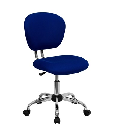 Mid-Back Blue Mesh Task Chair with Chrome Base [H-2376-F-BLUE-GG] FLFH-2376-F-BLUE-GG