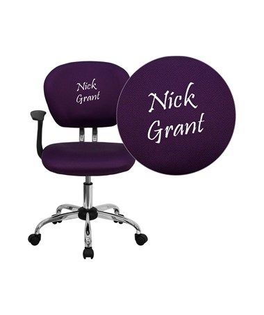 Embroidered Mid-Back Purple Mesh Task Chair with Arms and Chrome Base [H-2376-F-PUR-ARMS-EMB-GG] FLFH-2376-F-PUR-ARMS-EMB-GG