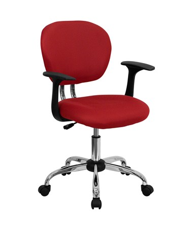 Mid-Back Red Mesh Task Chair with Arms and Chrome Base [H-2376-F-RED-ARMS-GG] FLFH-2376-F-RED-ARMS-GG