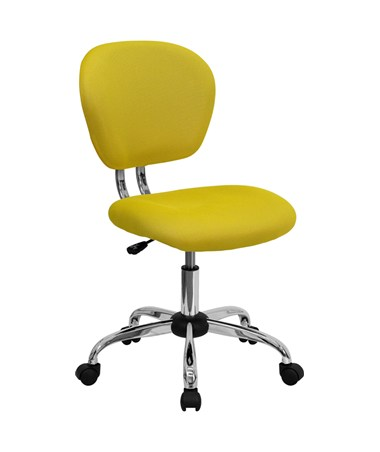 Mid-Back Yellow Mesh Task Chair with Chrome Base [H-2376-F-YEL-GG] FLFH-2376-F-YEL-GG