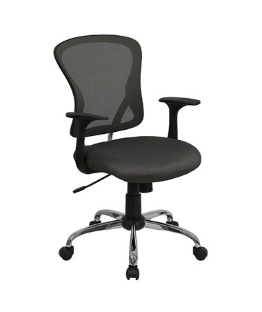 Mid-Back Dark Gray Mesh Office Chair with Chrome Finished Base [H-8369F-DK-GY-GG] FLFH-8369F-DK-GY-GG