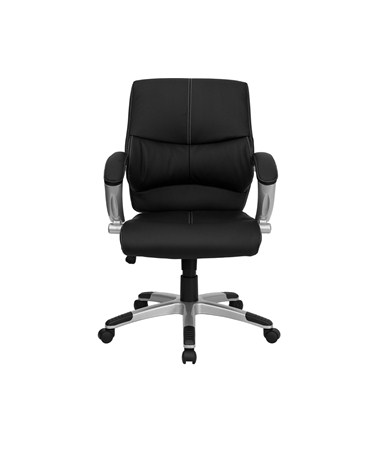 Mid Back Black Leather Contemporary Manager S Office Chair H 9637l 2 Gg Flfh