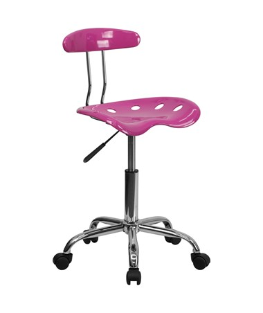 Vibrant Candy Heart and Chrome Computer Task Chair with Tractor Seat [LF-214-CANDYHEART-GG] FLFLF-214-CANDYHEART-GG