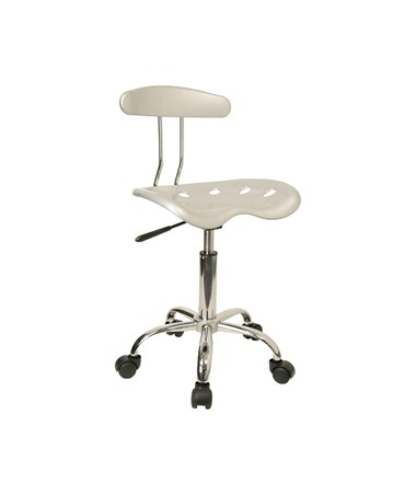 Vibrant Silver and Chrome Computer Task Chair with Tractor Seat [LF-214-SILVER-GG] FLFLF-214-SILVER-GG