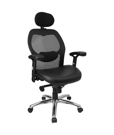 High Back Super Mesh Office Chair with Black Italian Leather Seat and Knee Tilt Control [LF-W42-L-HR-GG] FLFLF-W42-L-HR-GG