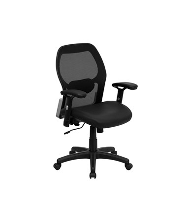 Mid-Back Super Mesh Office Chair with Black Italian Leather Seat [LF-W42B-L-GG] FLFLF-W42B-L-GG