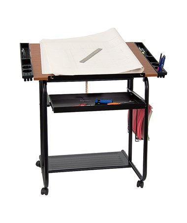 Flash Furniture Adjustable Drafting Table w/ Black Frame & Dual Wheel Casters FLFNAN-JN-2739-GG