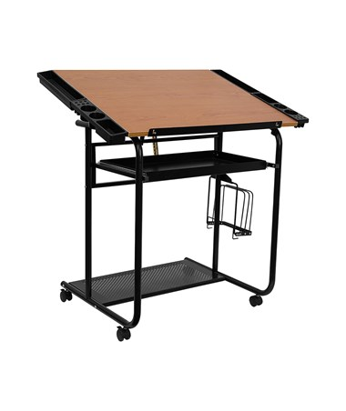 Flash Furniture Adjustable Drafting Table w/ Dual Wheel Casters FLANAN-JN-2739-GG