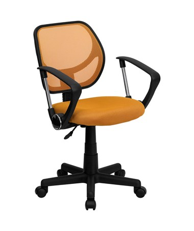 Mid-Back Orange Mesh Task Chair and Computer Chair with Arms [WA-3074-OR-A-GG] FLFWA-3074-OR-A-GG