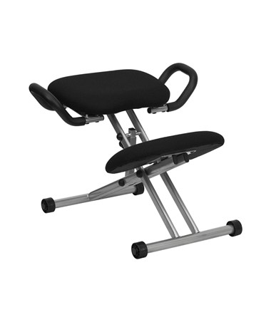 Ergonomic Kneeling Chair in Black Fabric with Handles [WL-1429-GG] FLFWL-1429-GG