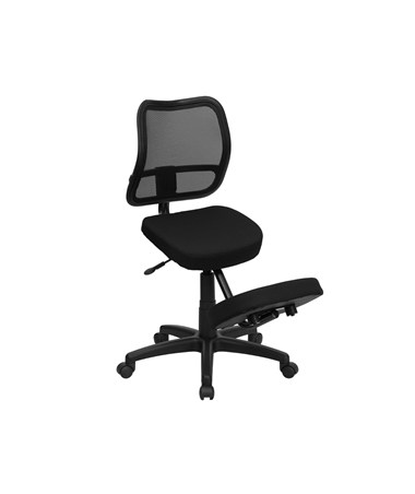 Mobile Ergonomic Kneeling Task Chair with Black Curved Mesh Back and Fabric Seat [WL-3425-GG] FLFWL-3425-GG