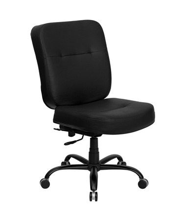 HERCULES Series 400 lb. Capacity Big & Tall Black Leather Office Chair with Extra WIDE Seat [WL-735SYG-BK-LEA-GG] FLFWL-735SYG-BK-LEA-GG