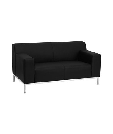 HERCULES Definity Series Contemporary Black Leather Love Seat with Stainless Steel Frame [ZB-DEFINITY-8009-LS-BK-GG] FLFZB-DEFINITY-8009-LS-BK-GG
