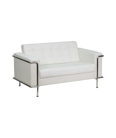 HERCULES Lesley Series Contemporary White Leather Love Seat with Encasing Frame [ZB-LESLEY-8090-LS-WH-GG] FLFZB-LESLEY-8090-LS-WH-GG