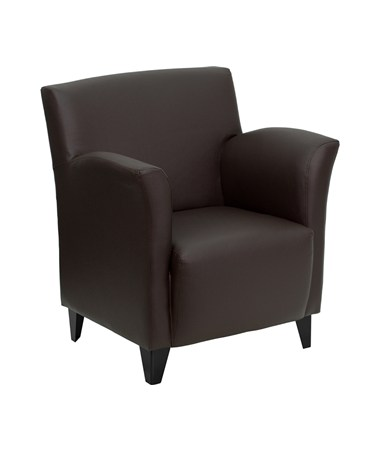 HERCULES Roman Series Brown Leather Reception Chair [ZB-ROMAN-BROWN-GG] FLFZB-ROMAN-BROWN-GG