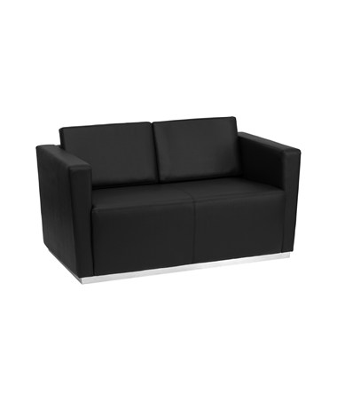 HERCULES Trinity Series Contemporary Black Leather Love Seat with Stainless Steel Base [ZB-TRINITY-8094-LS-BK-GG] FLFZB-TRINITY-8094-LS-BK-GG