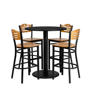 Flash Furniture 36'' Round Black Laminate Table Set w/ 4 Bar Stools FLFmd-0020-gg