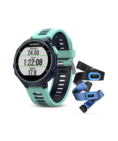 Garmin Forerunner 735XT GPS Watch Midnight Blue/Frost Blue Tri-Bundle 010-01614-04