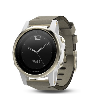 Garmin Fenix 5S GPS Watch Champagne with Gray Suede Band, Sapphire 010-01685-12