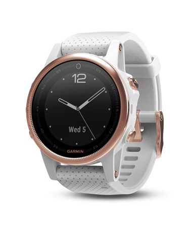 Garmin Fenix 5S GPS Watch Rose Gold with White Band, Sapphire 010-01685-16